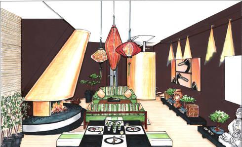 Perspektive Wohnbereich Asiatisches Wohnzimmer