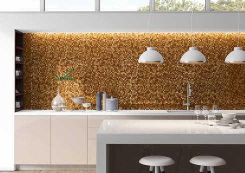 Cozinha com revestimento Santa Helena, Fuoco Collection: Cozinhas modernas por Elements Mosaic