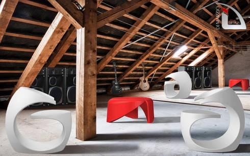 MISSIX armchair: Soggiorno in stile in stile Moderno di dimarziodesign