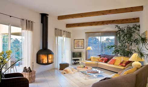 Edofocus 850 Wall Mounted Fire: modern Living room by Diligence International Ltd