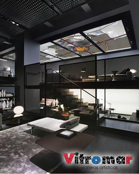 Techo vidriera loft negro: Puertas y ventanas de estilo  de Vitromar Vidrieras Artísticas