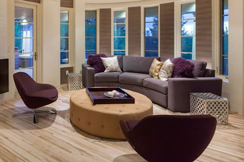 Cow Town Family Snug:  Living room by Bhavin Taylor Design