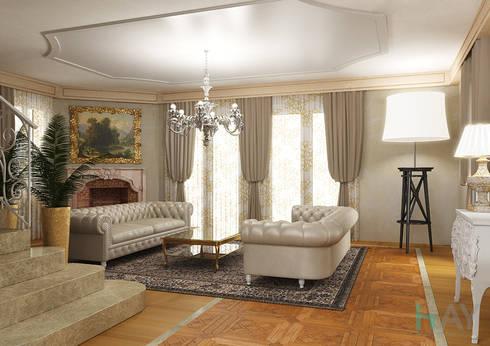 Interior Design in Montreux: Soggiorno in stile in stile Classico di HAY interiors