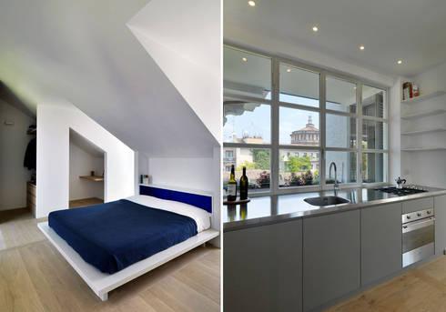 ZENALE DUPLEX Bedroom \ Kitchen: Cucina in stile in stile Moderno di FTA Filippo Taidelli Architetto