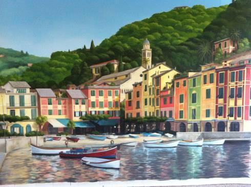 Portofino: Ingresso, Corridoio & Scale in stile in stile Mediterraneo di Chiara Spataro
