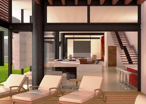 Interior Planta baja: Salas de estilo moderno por Arquitectura Libre