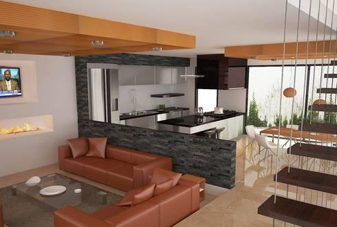 INTERIOR SALA DE ESTAR Y COCINA: Salas de estilo moderno por Arquitectura Libre