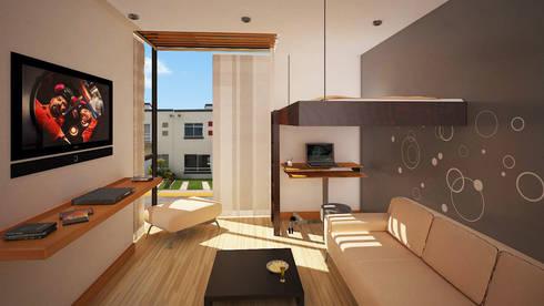 Remodelacíon de  habitación Hacienda San Juan: Recámaras de estilo moderno por Arquitectura Libre