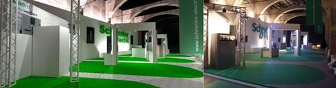 Confronto progetto e foto: Allestimenti fieristici in stile  di Studio Arch. Matteo Calvi