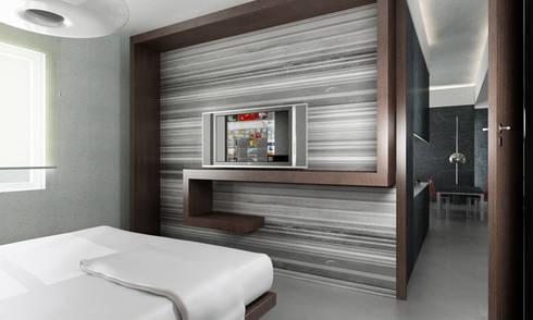 Casa M.: Camera da letto in stile in stile Moderno di studioLO architetti