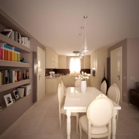 Classical living + kitchen: Soggiorno in stile  di Giovanni Baschetti Architetto