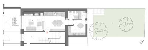 pianta: Soggiorno in stile in stile Moderno di pt architetti