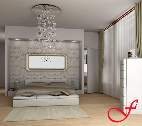 Villa Privata VL: Camera da letto in stile in stile Moderno di Fenice Interiors