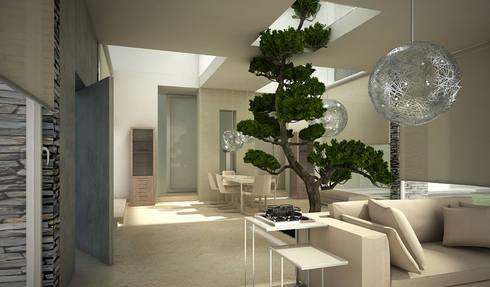 Residenza Privata in New Delhi: Soggiorno in stile in stile Moderno di Barbara Pizzi