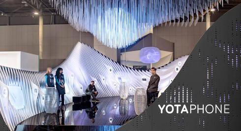 YOTA DEVICES PAVILION, MOBILE WORLD CONGRESS, 2014: Ferias de estilo  de EXTERNAL REFERENCE ARCHITECTS