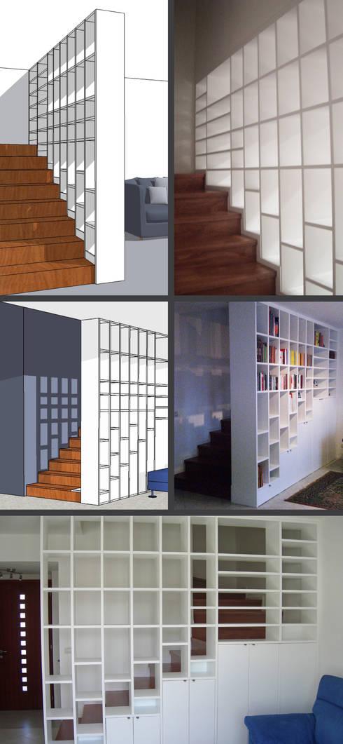 BUILT-IN BOOKSHELVES: Soggiorno in stile  di Elisa Occhielli Architetto