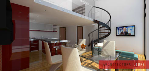 Interior Loft tipo B: Comedores de estilo moderno por Arquitectura Libre