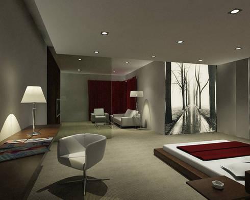 Habitacion con cuadro retroiluminado: Dormitorios de estilo moderno de Presumedetucasa.es