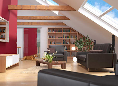 Attraktiv Wohnzimmer Im Dachgeschoss: Moderne Wohnzimmer Von DeinSchrank.de GmbH