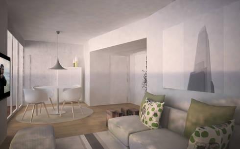 Appartamento a Marina di Pietrasanta: Soggiorno in stile in stile Scandinavo di Emmepi Design