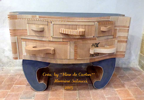 mine de carton commode carton recycl peinture m tal et pigment bleu homify. Black Bedroom Furniture Sets. Home Design Ideas