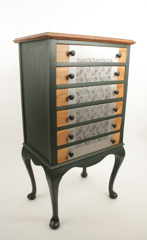 Upcycled Edwardian music cabinet:  Living room by Narcissus Road Furniture Design