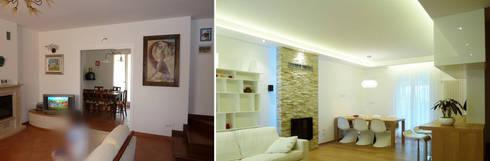 Il soggiorno-pranzo prima e dopo: Soggiorno in stile in stile Moderno di Studio Massimo Rinaldo architetto