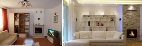Il soggiorno prima e dopo: Soggiorno in stile in stile Moderno di Studio Massimo Rinaldo architetto