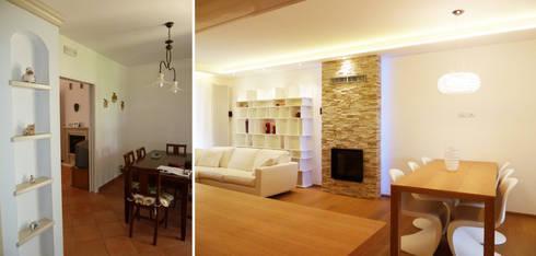 Il pranzo prima e dopo: Soggiorno in stile in stile Moderno di Studio Massimo Rinaldo architetto