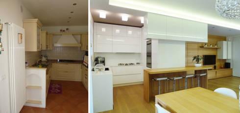 L'angolo cottura prima e dopo: Soggiorno in stile in stile Moderno di Studio Massimo Rinaldo architetto