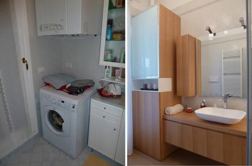 Il bagno-lavanderia: Soggiorno in stile in stile Moderno di Studio Massimo Rinaldo architetto