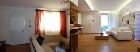 L'ingresso prima e dopo: Soggiorno in stile in stile Moderno di Studio Massimo Rinaldo architetto