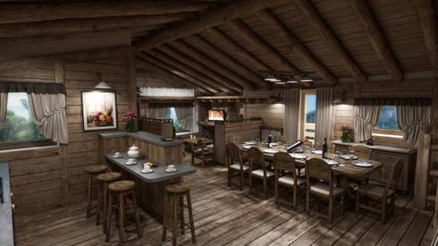 Cascina di Montagna: Sala da pranzo in stile in stile Rustico di studiosagitair
