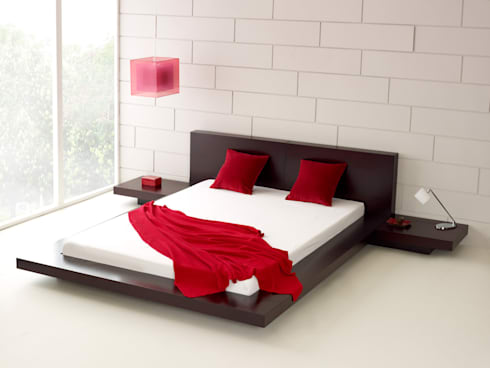 Emer Walnut Bed: modern Bedroom by Living It Up