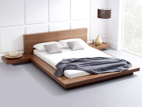 Emer Natural Walnut Bed: modern Bedroom by Living It Up