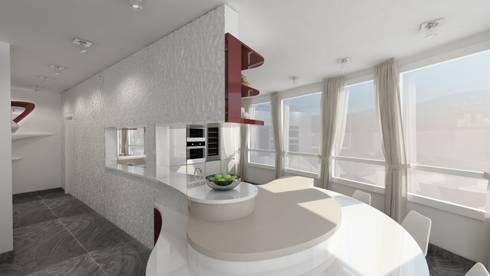 penisola cucina: Soggiorno in stile in stile Moderno di studiosagitair