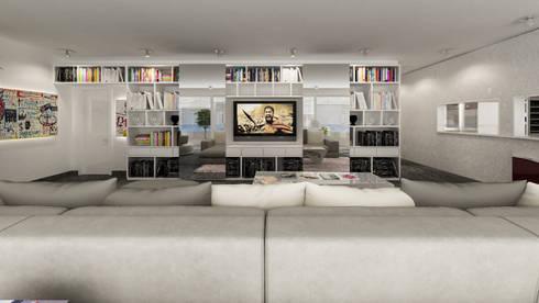 parete attrezzata tv: Soggiorno in stile in stile Moderno di studiosagitair