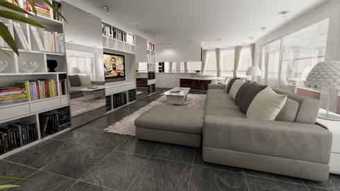 living open space: Soggiorno in stile in stile Moderno di studiosagitair