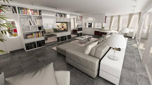 zona living attico: Soggiorno in stile in stile Moderno di studiosagitair