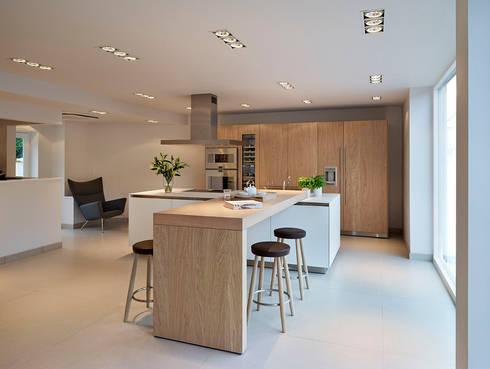 bulthaup b3 kitchen Rough Sawn Oak bar:   by hobsons choice