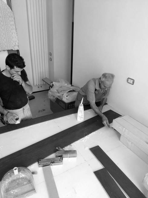 Casa MB_pedana_work in progress: Pareti in stile  di laboratorio di architettura - gianfranco mangiarotti