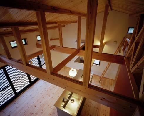 上部からキッチンを眺める: 株式会社 遊墨設計が手掛けたキッチンです。