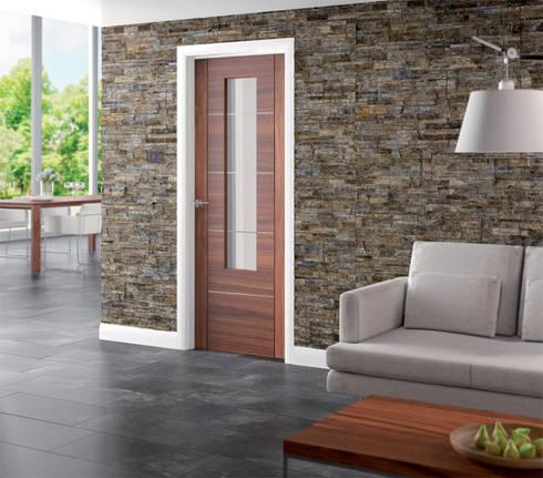 Portici Walnut Glazed Door:  Windows & doors  by Modern Doors Ltd