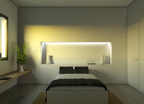 Vivienda SL: Dormitorios de estilo moderno de Binomio Estudio