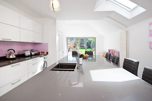 Pink Modern Kitchen : modern Kitchen by A1 Lofts and Extensions