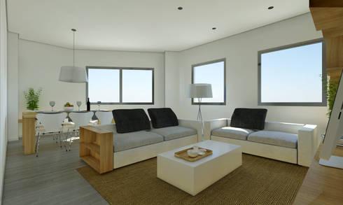 Vivienda SL: Salones de estilo moderno de Binomio Estudio