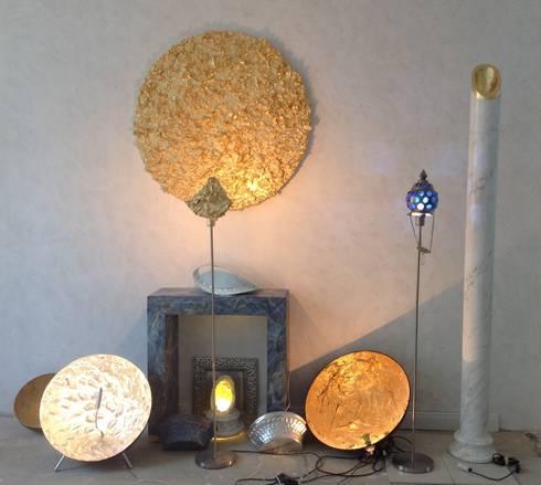 Lampen mit blattgold silber strass glas von illusionen for Exklusive lampen