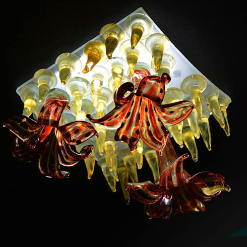 Red flower, yellow studs mini figlight downlight chandelier: eclectic Living room by A Flame with Desire