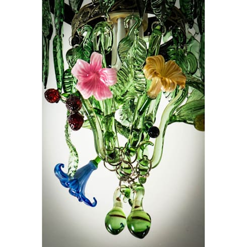 Fruit and Flowers custom glass chandelier: eclectic Living room by A Flame with Desire