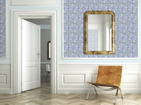 Paper Tiles Wallpaper by Louise Body:  Walls & flooring by Fabrics & Papers